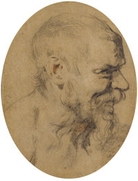 SIR ANTHONY VAN DYCK (Flemish 1599 - 1641) Study of the Head of an Old Man Looking Right, circa 1618 Black and red cha...