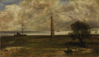 Attributed to JOHN CONSTABLE, R.A. (English 1776 - 1837) Walton on the Naze, Essex Oil on canvas 7-1/4 x 12-3/4 inche