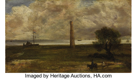 Attributed to JOHN CONSTABLE, R.A. (English 1776 - 1837) Walton on the Naze, Essex Oil on canvas 7-1/4 x 12-3/4 inche...