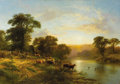 Fine Art - Painting, European:Antique  (Pre 1900), GEORGE COLE (British 1810 - 1885). Evening in Sussex. Oil oncanvas. 34 x 48 inches. Signed in red lower right. PROVEN...