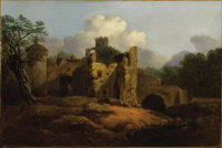 Attributed to THOMAS GAINSBOROUGH, R.A. (English 1727 - 1788) Old Castle Oil on canvas 12-1/4 X 18-1/4 inches  PROV