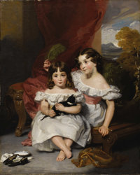 HENRY WYATT (British 1794 - 1840) Portrait of Fraser Sisters Oil on canvas 50-1/2 x 40 inches Signed and dated lower