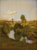 Fine Art - Painting, European:Antique  (Pre 1900), JEAN FERDINAND MONCHABLON (French 1855 - 1904). Winding Stream,July 1, 1898. Oil on panel. 5-7/8 x 4-7/8 inches. Inscri...