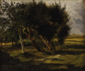 Fine Art - Painting, European:Antique  (Pre 1900), ROSA BONHEUR (French 1822 - 1899). Trees and Lane. Oil onpaper on canvas. 11 x 13-1/2 inches. Signed lower left. PROV...