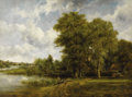 Fine Art - Painting, European:Antique  (Pre 1900), FREDERICK W. WATTS (British 1800 - 1862). Along the ThamesRiver, 1863. Oil on canvas. 39 x 52-1/2 inches. Signed lower...