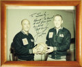 """Autographs:Celebrities, James Lovell Signed Color Photograph, 9.5"""" x 7"""" (visible), framed to 11"""" x 9"""". Picturing Lovell and Joe Garino, each wearing... (Total: 1 Item)"""