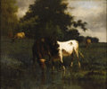 Fine Art - Painting, American:Modern  (1900 1949)  , after TROYON. Cows Watering. Oil on canvas on board. 15 x 18in. (unframed). Signed lower left. ...