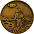 """Explorers:Space Exploration, Apollo 11 Bronze Medallion, 1.25"""" diameter. Astronaut on moon withcommand module flying overhead on obverse; Saturn rocket ...(Total: 1 Item)"""