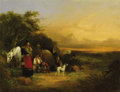 Fine Art - Painting, European:Antique  (Pre 1900), WILLIAM JOSEPH SHAYER (British 1811-1892). Morning andEvening (a pair of paintings). Oil on panel. 14 x 18 inches.PR...