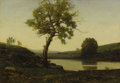 Fine Art - Painting, European:Antique  (Pre 1900), HENRI-JOSEPH HARPIGNIES (French 1819 - 1916) . Twilight in theRiver. Oil on canvas. 15-1/4 x 21-3/4 inches. Signed lowe...