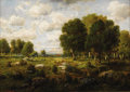 Fine Art - Painting, European:Antique  (Pre 1900), C. E. PICAULT (French Nineteenth Century). Landscape with Treesand Stream. Oil on board. 10-1/8 x 14-1/8 inches. Signed...