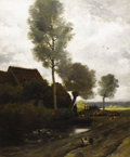 Paintings, CHARLES ÉMILE JACQUE (French 1813 - 1894). Un Paysage. Oil on canvas. 25-3/4 x 21-1/4 inches. PROVENANCE:. Newhouse Ga...