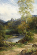 Fine Art - Painting, European:Antique  (Pre 1900), JOHN MACWHIRTER (Scottish 1839 - 1911). Lakeside Landscape withCastle. Oil on canvas. 34 x 59 inches. Signed lower righ...