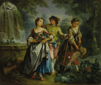 MICHEL BARTHELEMY OLLIVIER (French 1712 - 1784) Dans le Jardin Oil on canvas 12 x 14-1/4 inches  PROVENANCE: Newho