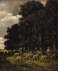 Fine Art - Painting, European:Antique  (Pre 1900), CHARLES EMILE JACQUES (French 1813 - 1894). Shepherd and HisFlock. Oil on canvas. 18-1/4 x 15 inches. Signed lower lef...