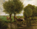 Fine Art - Painting, European:Antique  (Pre 1900), Attributed to CONSTANT TROYON (French 1810 - 1865). Cows inMeadow. Oil on canvas. 20-1/4 x 25-1/2 inches. Signed lower ...
