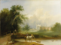 HENRY JOHN BODDINGTON (English 1811-1865) A View on the Left Bank of the Thames, Showing Eton College, 1839 Oil on can...