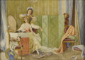 Fine Art - Painting, European:Antique  (Pre 1900), THEODORE VALERIO (French 1819 - 1879). Untitled. Watercolor. 12 x 17 inches. Signed lower right. Theodore Valerio was ...