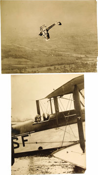 """Two Large Early Aviation Photographs, one photo shows an unidentified aviatrix in a biplane, 12"""" x 16""""; the ot..."""