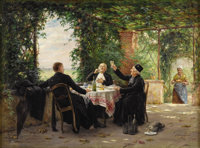 VINCENT JEAN BAPTISTE CHEVILLIARD (French 1841 - 1904) Afternoon Break Oil on panel 11 x 14 inches Signed lower righ