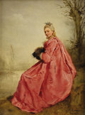 Fine Art - Painting, European:Antique  (Pre 1900), GUSTAVE JEAN JACQUET (French 1846 - 1909). Girl in the Manner ofWatteau. Oil on canvas. 6 x 4-1/2 inches. Signed lower ...