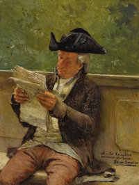 LUIS JIMENEZ Y ARANDA (Spanish 1845-1928) Portrait of a Man Reading Oil on panel 6 x 4-1/2 inches Signed lower right