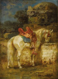 Fine Art - Painting, European:Antique  (Pre 1900), ADOLF SCHREYER (German 1828 - 1899). A Horse at Well. Oil onpanel. 6 x 4-1/2 inches. Signed lower right. PROVENANCE:...