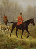 Fine Art - Painting, European:Antique  (Pre 1900), JEAN RICHARD GOUBIE (French 1842 - 1899). Red CoatedHorseman, circa 1888. Oil on panel. 6 x 4-1/2 inches. Signedand da...