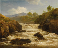EDMUND GILL (British 1820 - 1894) Landscape with River (A pair of paintings) Oil on canvas 10-1/8 x 12 inches Signed
