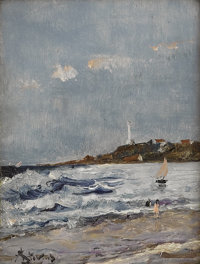 ALFRED STEVENS (Belgian 1823 - 1906) Seashore Oil on canvas 6 x 4-1/2 inches Signed lower left  PROVENANCE: Newho