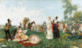 Fine Art - Painting, European:Antique  (Pre 1900), JUAN GIMENEZ MARTIN (Spanish 1806 - 1875). The Serenade. Oilon canvas. 23-1/2 x 40-3/4 inches. Signed lower right, Ji...