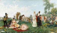 JUAN GIMENEZ MARTIN (Spanish 1806 - 1875) The Serenade Oil on canvas 23-1/2 x 40-3/4 inches Signed lower right, Ji