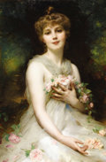 Fine Art - Painting, European:Antique  (Pre 1900), ADOLPHE ETIENNE PIOT (French 1850 - 1910). Jeune Femme. Oilon canvas. 35-3/4 x 23-3/4 inches. Signed middle of right ma...