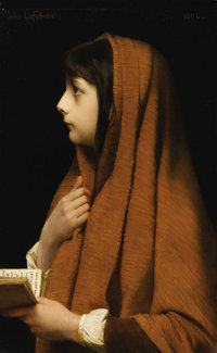 JULES JOSEPH LeFEBVRE (French 1836 - 1911) Mignon Oil on canvas 25-3/4 x 16 inches  PROVENANCE: Newhouse Galleries