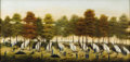 Fine Art - Painting, American:Antique  (Pre 1900), AMERICAN SCHOOL (Primative). Campsite of the Union Army,circa 1862. Oil on canvas. 17-1/4 x 35 inches. PROVENANCE:. P...