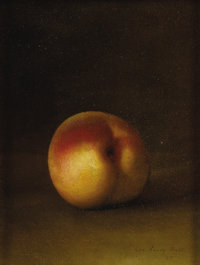 GEORGE HENRY HALL (American 1825 - 1913) Peach Still Life, 1885 Oil on canvas 6-3/4 x 8-1/2 inches Signed and dated