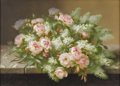 Fine Art - Painting, American:Antique  (Pre 1900), RAOUL M. DE LONGPRE, FILS (French b. 1843). Bouquet with Rosesand Lilacs. Gouache on paper. 31 x 23-1/4 inches. Signed ...