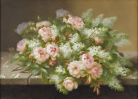 RAOUL M. DE LONGPRE, FILS (French b. 1843) Bouquet with Roses and Lilacs Gouache on paper 31 x 23-1/4 inches Signed