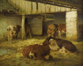 Fine Art - Painting, American:Antique  (Pre 1900), WILLIAM HENRY HOWE (American 1846-1929). Cows In a Stable.Oil on canvas. 24 x 30 inches. Signed lower left. PROVENANC...