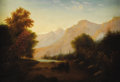 Fine Art - Painting, American:Antique  (Pre 1900), HUDSON RIVER SCHOOL (Late Nineteenth Century). Landscape.Oil on canvas. 14-1/8 x 20-1/4 inches. Signed illegibly lower ...