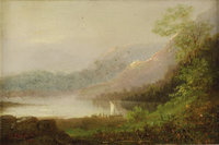 Attributed to ASHER BROWN DURAND (American 1796 - 1886) Sailing on Lake George, 1881 Oil on board 6-1/4 x 9 inches S