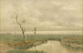 Paintings, HENRY FARRER (English-born American 1843 - 1903). Tidal Marsh, circa 1890. Watercolor on paper. 16-1/8 x 24-3/4 inches. ...