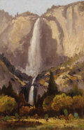 Fine Art - Painting, American:Antique  (Pre 1900), Attributed to THOMAS HILL (English-American 1829 - 1908).Yosemite Falls, 1892. Oil on canvas. 8-7/8 x 6 inches.Signed ...