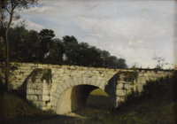 HENRI-JOSEPH HARPIGNIES (American 1819 - 1916) Old Bridge Oil on canvas 10-1/4 x 14-1/4 inches Signed lower right &l...