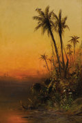 Fine Art - Painting, European:Antique  (Pre 1900), FREDERICK FERDINAND SCHAFER (American 1839 - 1927). Evening onthe Amazon River. Oil on canvas. 30 x 20 inches. Signed w...