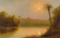 Fine Art - Painting, American:Antique  (Pre 1900), NORTON BUSH (American 1834 - 1894). Tropical River Scene,Ecuador, circa 1875 . Oil on canvas. 20 x 32 inches. PROVENA...