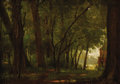 Fine Art - Painting, American:Antique  (Pre 1900), ALEXANDER WYANT (American 1836 - 1892). Woodland, 1836. Oilon panel. 4-5/8 x 6-3/4 inches. PROVENANCE:. Newhouse Gall...