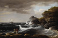 Fine Art - Painting, American:Antique  (Pre 1900), THOMAS BIRCH (American 1779 - 1851). Coastal Scene, 1830.Oil on canvas. 20 x 30 inches. Signed and dated lower left,...