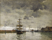 FRANK MYERS BOGGS (American 1855 - 1926) Le Port Oil on canvas 19-1/2 x 25-1/2 inches Signed lower left, Boggs<...