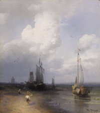 HERMANN OTTOMAR HERZOG (American 1832 - 1932) Dutch Coastal Scene Oil on canvas 16 x 14 inches Signed lower right &l...